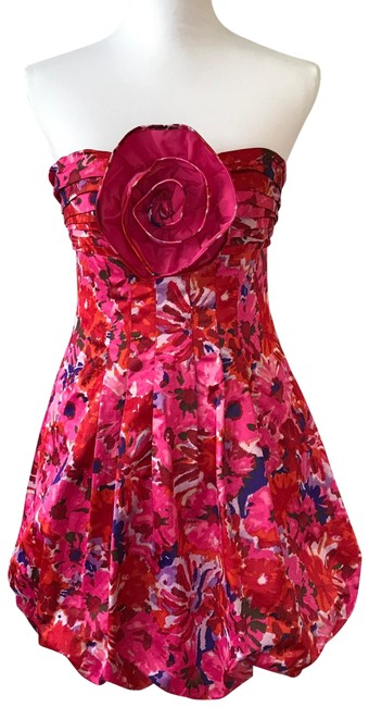 Item - Pink Red & Purple Strapless Begonia Combo Short Cocktail Dress Size 8 (M)