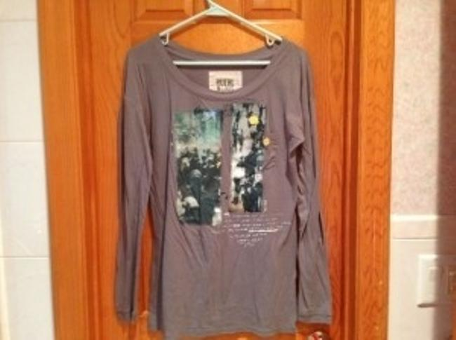 Ruehl No.925 Long Sleeves Cotton Paint Words Top Gray, with image transfer