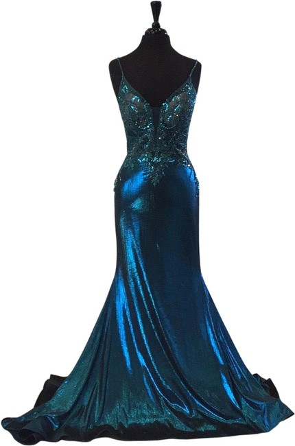 Item - Teal 120095 Long Formal Dress Size 6 (S)