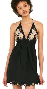 Free People short dress Black Pink Floral Embroidered T Boho on Tradesy