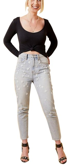 Item - Blue White Light Wash Black Label Girlfriend High Rise Floral Skinny Jeans Size 29 (6, M)