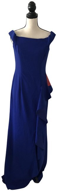 Item - Cobalt Blue Infusion Cascading Ruffle Gown Long Formal Dress Size 6 (S)