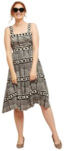 Anthropologie short dress New Black and White Square Zip Rayon Spandex Chic on Tradesy