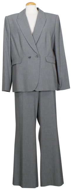 Item - Gray Melange Stretch Double Breasted Flared Pant Suit Size 16 (XL, Plus 0x)