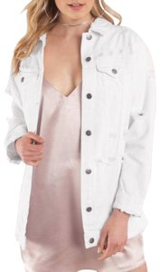 Hot & Delicious white Womens Jean Jacket