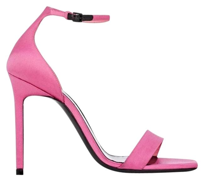 Saint Laurent Pink Amber Satin Ankle-strap Sandals Formal Shoes Size US 6.5 Regular (M, B) Saint Laurent Pink Amber Satin Ankle-strap Sandals Formal Shoes Size US 6.5 Regular (M, B) Image 1