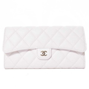 Chanel CHANEL Caviar Mat Long Wallet White