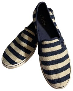 Chaps cream and navy blue striped Flats