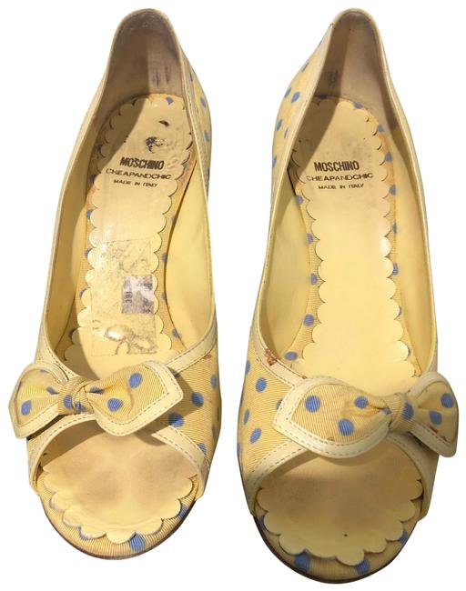 Item - Yellow and Blue Peep Pumps Size US 9 Regular (M, B)