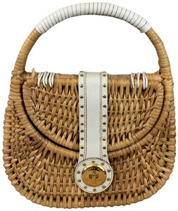 Michael Kors Collection Wicker Summer Leather White Clutch