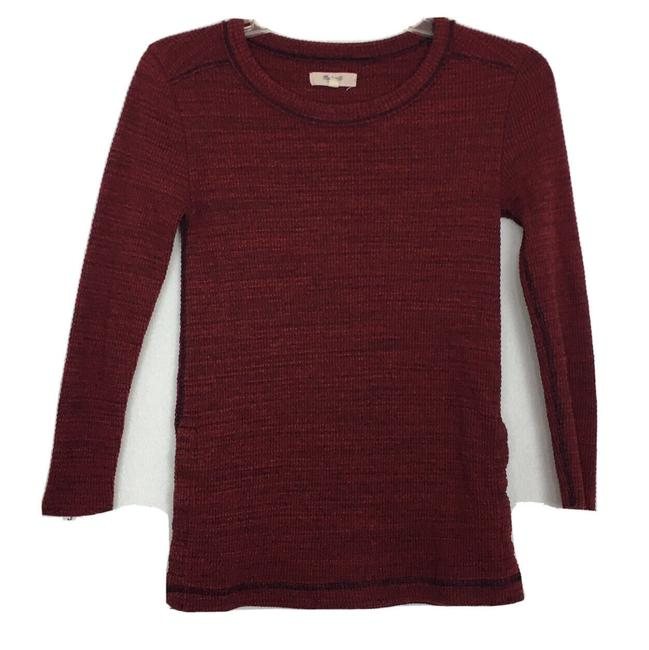 Item - Burgundy Thermal Side-button Slim Fitted Long Sleeve Tee Shirt Size 0 (XS)