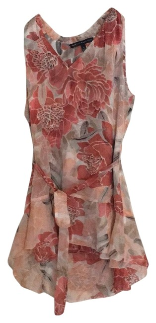 Item - Peach Floral Blouse with Removable Belt Tunic Size 4 (S)
