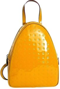 Arcadia Made In Italy Embossed Glossy Leather Backpack