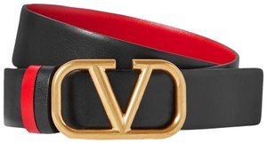 Valentino SIZES 65/70/75/80/85/90CM VLOGO GLOSSY CALFSKIN REVERSIBLE BELT 30 MM