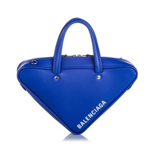 Balenciaga Ff0bgst028 Vintage Leather Satchel in Blue