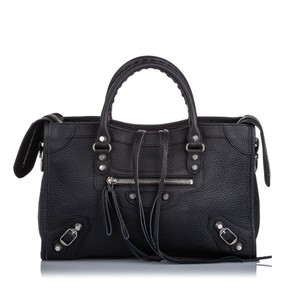 Balenciaga Ff0bgst029 Vintage Leather Satchel in Black