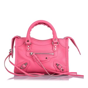 Balenciaga Ff0bgst032 Vintage Leather Satchel in Pink