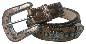 B.B. Simon B.B. Simon Belt Swarovski Crystals Copper Blue R 32