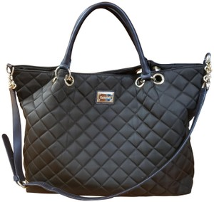 Calvin Klein Quilted Nylon Leather Hobo Bag