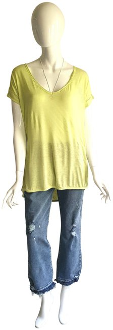 Item - Lime Green Clara Oversized V-neck Cuffed Short Sleeve Backtail Style No. M490l514 Blouse Size 10 (M)