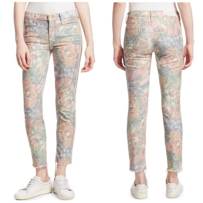 Item - White Pink Light Wash Looker Floral Fray Hem Ankle Woman New Skinny Jeans Size 24 (0, XS)