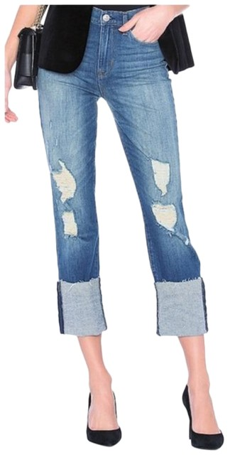 Item - Blue Medium Wash Zoeey Deep Cuff Crop Skinny In Test Me Woman New Capri/Cropped Jeans Size 25 (2, XS)
