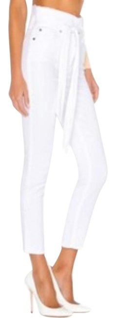 Item - White Light Wash Waist Tie Paper Bag New Skinny Jeans Size 33 (10, M)