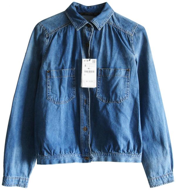 Item - Denim Gathered Jacket Size 4 (S)