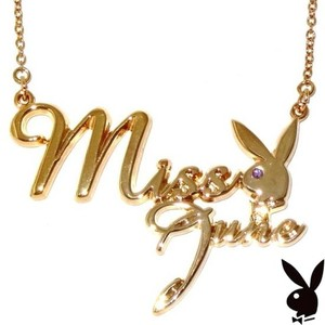 Playboy Playboy Necklace Bunny Pendant Gold Plated Swarovski Crystal MISS JUNE