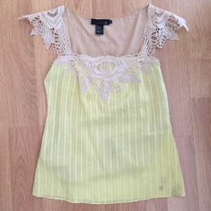 Isabel Lu Lace Silk Summer Top Yellow