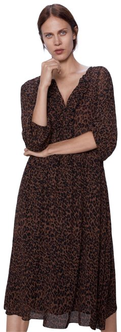 Item - Brown Black Animal Print Cheetah Midi Boho Long Casual Maxi Dress Size 6 (S)