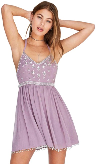 Item - Purple XS Urban Outfitters Snow Queen Embellished Beaded Mid-length Short Casual Dress Size 2 (XS)