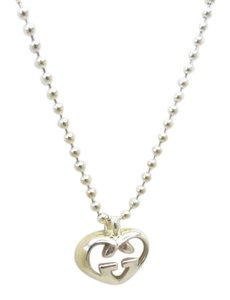 Gucci Gucci Necklace Silver Heart Motif Ball Chain Ag925 GG Canvas Accessories Ladies 409381 RYB5760