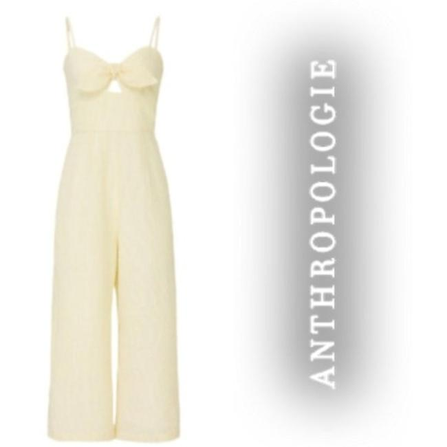 Item - Yellow and White Hutch Structured Seersucker Romper/Jumpsuit