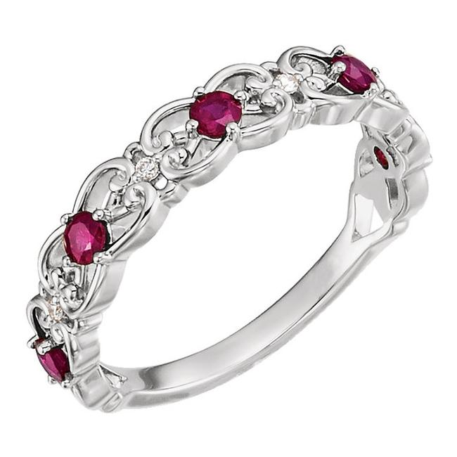 Item - White 1.25 Ct Ladies and Ruby Band Ring