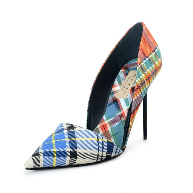 Item - Multi-color Women's Canvas Leather Checkered High Pumps Size US 10 Regular (M, B)