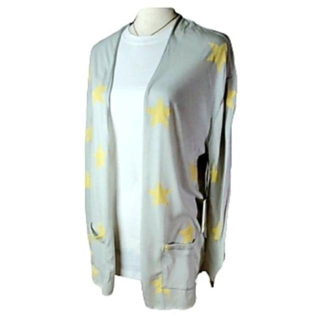 Item - Gray Yellow Open Front Lightweight with Stars Cardigan Size 2 (XS)