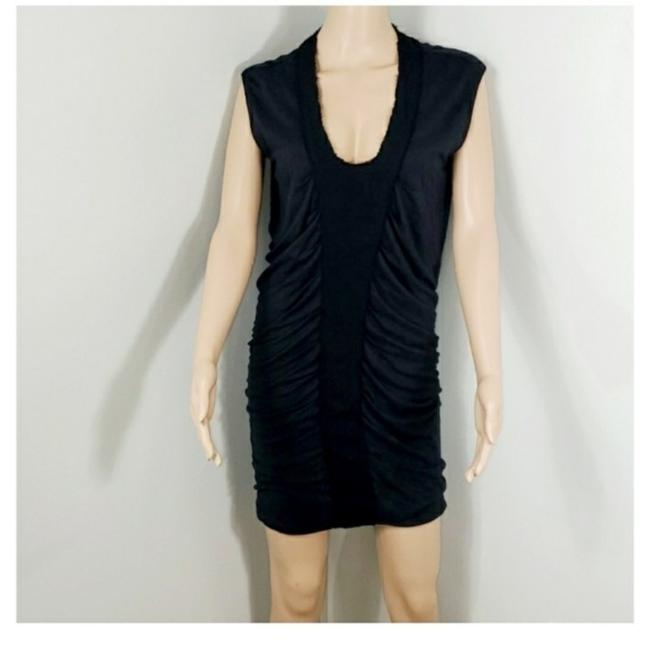 Item - Black V Neck Cap Sleeves Ruched Front Short Casual Dress Size 6 (S)