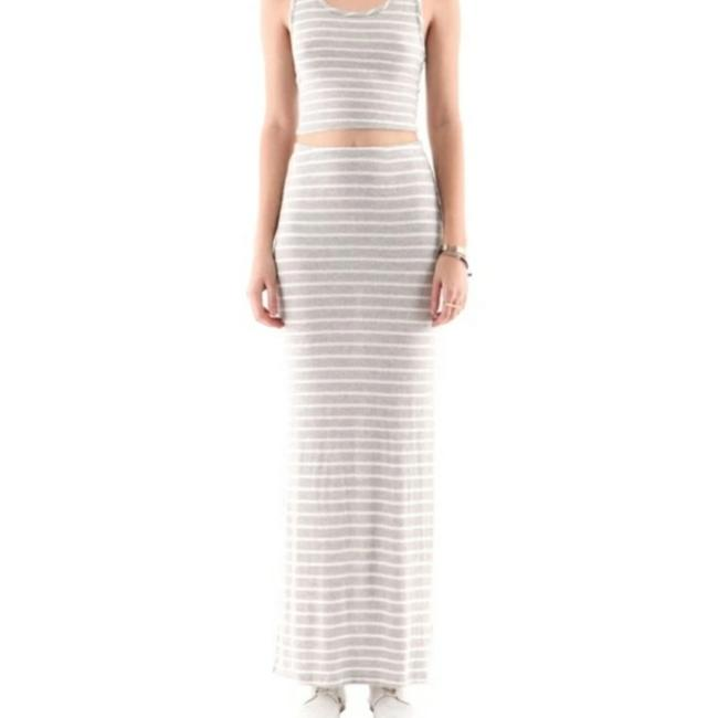Hye Park and Lune Gray White Heathered Long with Stripes Skirt Size 2 (XS, 26) Hye Park and Lune Gray White Heathered Long with Stripes Skirt Size 2 (XS, 26) Image 1