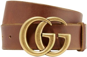 Gucci NEW GUCCI 110 cm BROWN LEATHER GG GOLD BELT THICK NEW LOGO