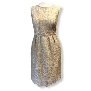 Jenny Yoo Sandstone Cream Silver Lace Harlow Modern Bridesmaid/Mob Dress Size 6 (S)