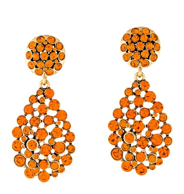 Item - Orange Signed Crystal Pavé Teardrop Clip-on Earrings