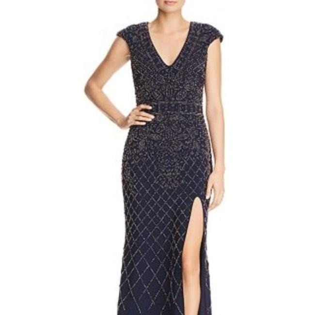 Item - Blue G Beaded Cap-sleeve Gown Navy/Gunmetal Long Casual Maxi Dress Size 2 (XS)