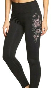 Spiritual Gangster Black Leggings with Pink Embroidered Flowers sz XS