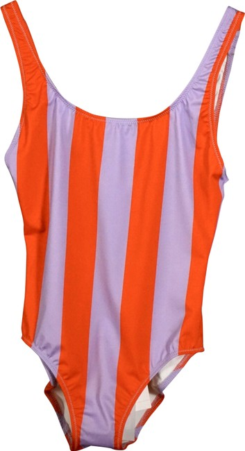Item - Red & Lavender Solid Striped Anne Marie Swimsuit One-piece Bathing Suit Size 0 (XS)