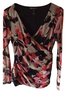 INC International Concepts Floral Pretty Print Top Black, Cream, and Pinks