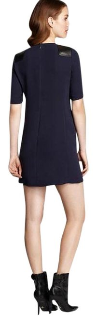 Item - Navy Blue W Ink W/ Leather Detail Short Casual Dress Size 4 (S)