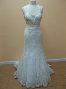 Alfred Angelo Ivory Lace Over Satin 8520 Formal Wedding Dress Size 12 (L)