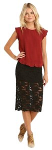 Free People Cotton Lycra Lace Lined Elastic Wasitband Skirt New Black