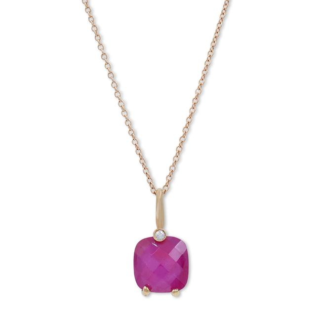 Item - 18k Yellow Gold Diamond Pink Rhodolite Pendant Necklace